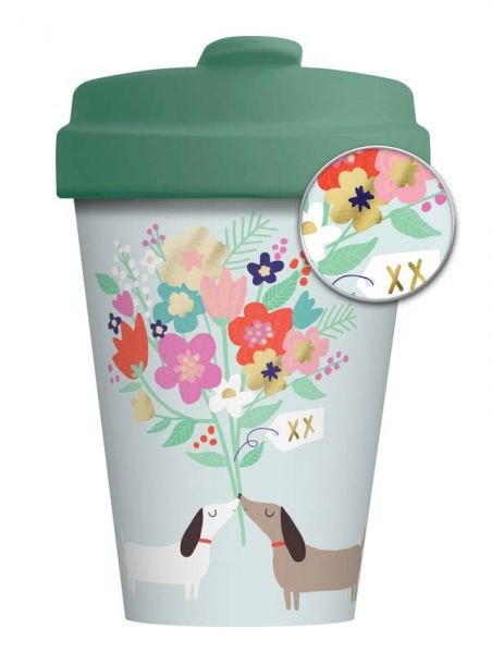 """BambooCup """"Lovely Doggies"""" mit Golddruck"""