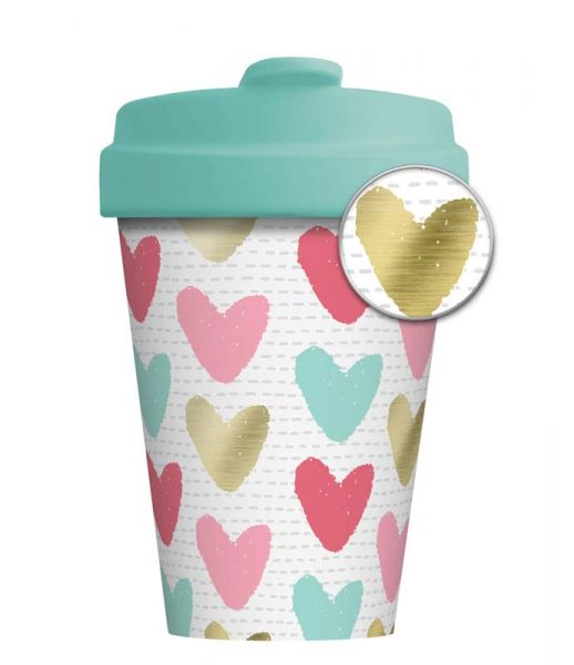 """BambooCup """"Happy Hearts"""" mit Golddruck"""