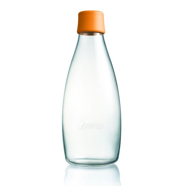 Retap 0,8l Glas Trinkflasche in Orange